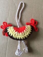 Handmade Crocheted Chicken Knitted Wool Farmhouse Rustic Hanging Decoration