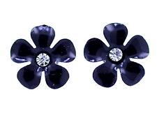 1.2cm Esmalte negro ciruela pendientes de presión con flor