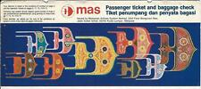 Ticket - MAS Malaysian Airlines System  - 4 Flight Format - 1987 (T427)