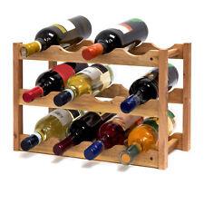 Weinregal Holz klein 3 Bden 12 Flaschen Weinflaschenhalter Walnuss Flaschenregal