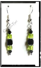 Black & Lime Crystal Cube Earrings..Silver Plated
