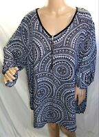 Espresso Women Plus Size 3x Ivory Black Polka Circle  Tunic Top Blouse Shirt