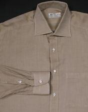 * BORRELLI * Gold Woven Cotton Handmade Dress Shirt (41) 16-35