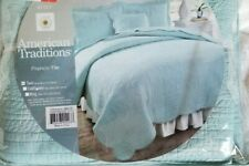 American Traditions French Tile Canal Blue Twin Quilt