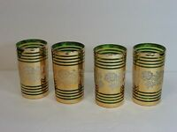 "Gold/Green Glass Juice/Tumbler Glasses w/Embossed Roses 4.5"", Set of 4, Vintage!"