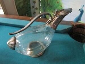 DUCK GOOSE GLASS SILVERPLATE PITCHER JUG 11""