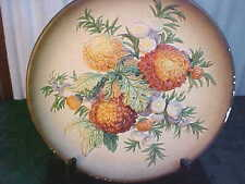 Exquisite Vintage W. H. Bossons Hand Painted Mums Chalkware Wall Mount Plaque