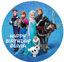 1 x Disney Frozen 19cm round personalised cake topper edible image