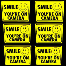 LOT 6 SMILE YOURE ON HOME SECURITY VIDEO CAMERA BURGLAR WARNING STICKER