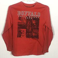 NWT Boys Buffalo David Bitton Long Sleeved Red Graphic Shirt Size Small