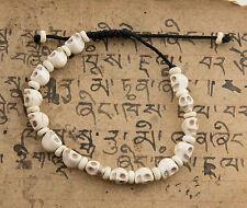 Bracelet Mala Tibetain Tête de mort blanc creme Perles en Howlite 5508 CA13