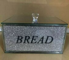 XL Large Design Crushed Diamond Bread Bin Crystal Mirrored Container Kitchen Jar
