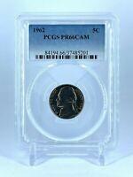 PR66CAM 1962 JEFFERSON NICKEL PCGS GRADED 5C PROOF CLEAN COIN PR 66 CAMEO RARE