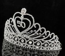 50th 50-Year-Old Birthday Party Austrian Rhinestone Tiara Crown Hair Combs T803