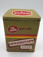 """Archway Gingersnaps Cookie Tin 1 lb Limited Edition Brown Tan Metal Vintage 8"""""""