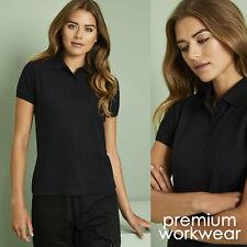 Womens Polo Shirt Black Top Pique Work Wear Uniform T-Shirt Short Sleeve NEW UK