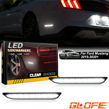 Upgrade White LED Side Marker Lights Rear For 2015-2020 Ford Mustang Smoked Lens