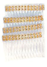 A 4 pack of clear Hair Combs Slides 7cm with Gold Diamontie Diamante effect