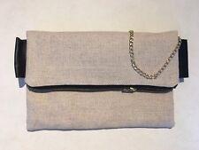 Hecho A Mano Para Mujer Embrague Bag Case Ipad Lino plegable y cierre de cremallera