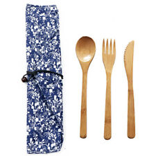 Bamboo Cutlery Set Eco-friendly Flatware Knife Fork Spoon for Camping Travel New