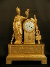 Antique French Empire gilt bronze clock with Goddess of harvest and art ca 1820