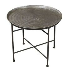 Embossed Metal Table Pewter Finish Accent Side End Industrial Restoration Round
