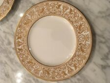 Wedgwood Gold Florentine Dinner Plates one pair Excellent Condition