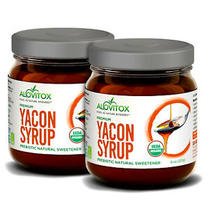 2 Pack Yacon Syrup 8oz - Natural Sweetener    Keto, Paleo, Vegan and Gluten Free