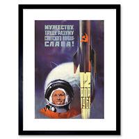 Vintage Ad Propaganda USSR Communism Gagarin Cosmonaut Framed Print 12x16 Inch