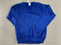 Blue Sweater Collegiate Pacific Blank V Neck Pullover Knit USA 80s VTG