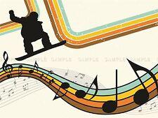 Dipinto astratto Snowboard Music Retrò Colori Poster Stampa bmp10184