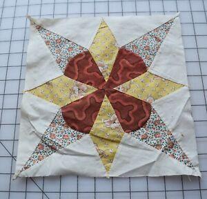 9343  Antique 1920's Star quilt block, yellow & orange florals