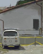 VW Van Retro Photoshop Digital 4x5 Print Small Artwork Illustration Hipster Art
