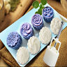 4 Style Stamps 50g Round Flower Moon Cake Mold Mould White Set Mooncake Decor