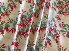 Vintage Laura Ashley 'Chintz' Crimson & Green Floral  On Ivory Coated Cotton FQ