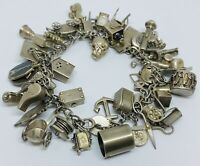 Vintage Sterling Silver (925) Charm Bracelet w/ 40 Charms