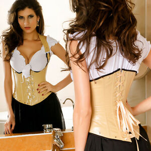Tan Faux Leather Underbust Corset Halter Strap Waist Coat and Buckles Steampunk