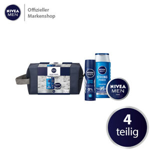 NIVEA MEN Travel Buddy Geschenkset 4 tlg. Deo Spray Creme Shampoo Kulturtasche