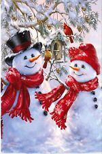 NEW EVERGREEN HOUSE FLAG SNOWMAN SNOW SWEETHEARTS CHRISTMAS OR WINTER  29 x 43