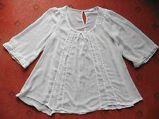 Women's New Look Cream Sheer Blouse with 3/4 length sleeves, size 8