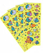4 Sheets Colorful FISH and Bubbles Scrapbook Stickers!