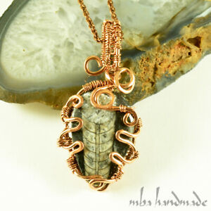 Orthoceras Fossil Handmade Pendant Antiqued Copper Wire Wrapped Gemstone