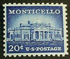 US Scott 1047, Single 1956 Monticello 20c MNH OG VF