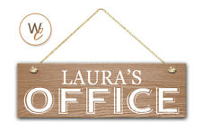 "OFFICE Sign, Custom Name On 5.5"" x 17"" Wood Sign, Personalized Gift, Door Sign"