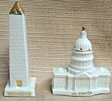 Porcelain VINTAGE Salt & Peppers WASHINGTON MONUMENT & US CAPITOL - CAPSCO Japan