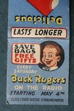 1930-40s Era Buck Rogers Radio Show & Creamsicle ice cream matchbook-Scarce!
