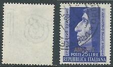 1952 TRIESTE A USATO SAVONAROLA FILIGRANA LETTERA - L5