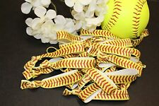 Softball Hair Ties- 6 Hair Tie Band Bow- Stocking Stuffer- Team Gift