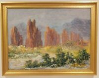 "Oil Painting on Canvas Mountain Landscape Signed Framed Art  (21"" x 27"")"