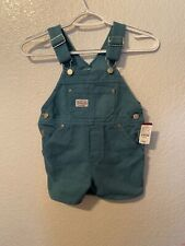 Vtg OshKosh 3T Vestbak Green Bib Short Overalls Made in...